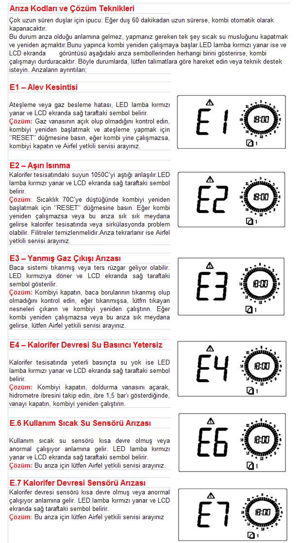 Airfell Minimax Arıza Kodları ve Çözümleri